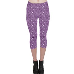 Purple Day Of The Dead Sugar Skull Capri Leggings by CoolDesigns