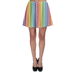 Colorful Striped Rainbow Pattern With Colorful Butterflies Skater Skirt by CoolDesigns