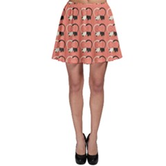 Pink Pattern Cute Cats In Love Skater Skirt by CoolDesigns