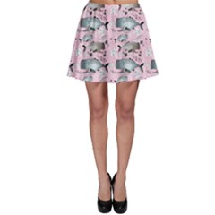 Purple Graphic Pattern Of Whales And Jellyfish On A Pink Skater Skirt by CoolDesigns