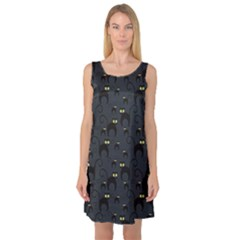 Black Cats Design Pattern Sleeveless Satin Nightdress by CoolDesigns