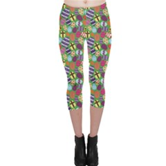 Colorful Various Color Easter Eggs Design Pattern Capri Leggings by CoolDesigns