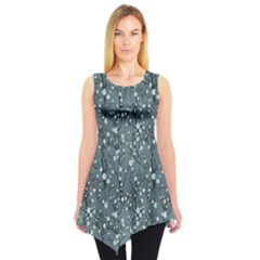 Blue Water With Pattern Tree Japanese Cherry Blossom Sleeveless Tunic Top by CoolDesigns