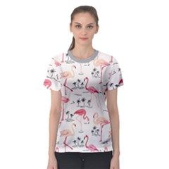 Colorful Flamingo Bird Pattern Women s Sport Mesh Tee by CoolDesigns