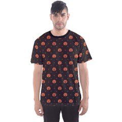 Black Black D Polka Dots Pattern With Halloween Pumpkin Men s Sport Mesh Tee by CoolDesigns