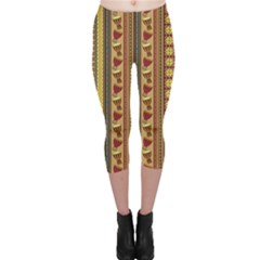 Colorful African Drum Ornament Capri Leggings by CoolDesigns