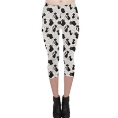 Gray Cartoon Cats Black Silhouettes With White Capri Leggings by CoolDesigns