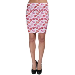 Pink Watercolor Lips Pattern Bodycon Skirt by CoolDesigns