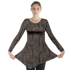 Black Pattern With Ravens Long Sleeve Tunic Top by CoolDesigns