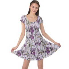 Colorful Pattern Beautiful Iris Flowers Cap Sleeve Dress by CoolDesigns