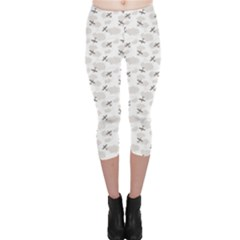 Gray Pattern Airplanes in the Clouds Capri Leggings by CoolDesigns