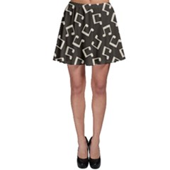 Gray Music Note Doodle Drawing Pattern Skater Skirt by CoolDesigns