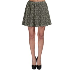 Dark Cannabis Leafs With Skulls Pattern Skater Skirt by CoolDesigns