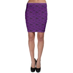Purple With Halloween Bats And Stars Bodycon Skirt by CoolDesigns