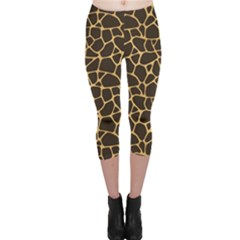 Brown A Brown And Yellow Giraffe Spotted Repeatable Capri Leggings by CoolDesigns