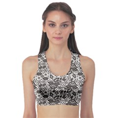 Gray Black Lace Pattern On White Women s Sport Bra by CoolDesigns