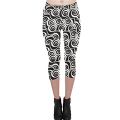 Black Flower Pattern With Black And White Roses Flowers Capri Leggings by CoolDesigns