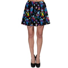 Colorful Cartoon Circus Pattern Art On A Black Skater Dress by CoolDesigns