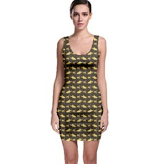 Brown Image of Sharks and Underwater Masks Bodycon Dress by CoolDesigns