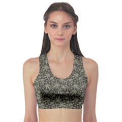 Dark Cannabis Leafs With Skulls Pattern Women s Sport Bra by CoolDesigns