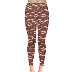 Dark American Football Design Over Balls Pattern Leggings by CoolDesigns