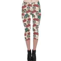 Colorful Skull Hearts And Flowers Capri Leggings by CoolDesigns