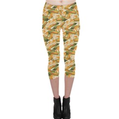 Colorful Vegetable Organic Food Yellow Corn Stalk Pattern Capri Leggings by CoolDesigns