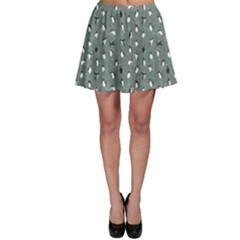 Blue Pattern With Little Cute Penguins On Blue Skater Skirt by CoolDesigns