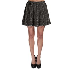 Black Pirate Pattern Sketch Cartoon Skater Skirt by CoolDesigns
