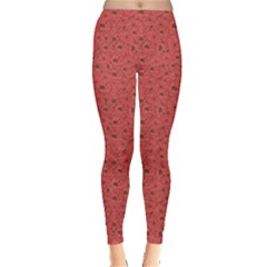 Red Floral Pattern Doodle Poppies Old Style Crown Leggings by CoolDesigns