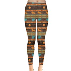Colorful Ethnic African Abstract Geometric Pattern Leggings by CoolDesigns