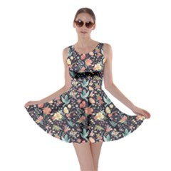 Colorful Cute Pattern Birds And Flowers Skater Dress by CoolDesigns