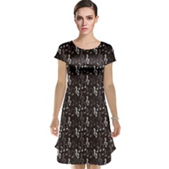 Black Pattern With Music Notes Treble Clef Cap Sleeve Nightdress by CoolDesigns