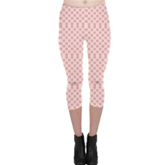Pink Plaid Pattern Capri Leggings by CoolDesigns