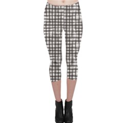 Gray Texture Black Checkered Tablecloth Capri Leggings by CoolDesigns