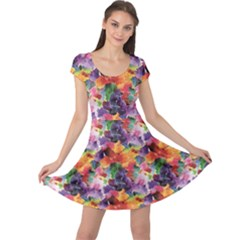 Colorful Abstract Pattern Cap Sleeve Dress by CoolDesigns