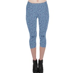 Blue Anchor Pattern Capri Leggings by CoolDesigns