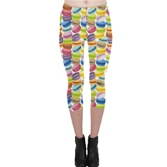 Colorful Pattern Colorful Macaroon Cookies Capri Leggings by CoolDesigns