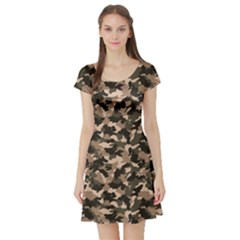 Dark Camouflage Pattern Short Sleeve Skater Dress by CoolDesigns