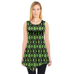 Green Shamrock Pattern Black Sleeveless Tunic Top by CoolDesigns