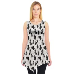 Gray Cartoon Cats Black Silhouettes With White Sleeveless Tunic Top by CoolDesigns