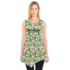 Green Vegetable Pattern Sleeveless Tunic Top by CoolDesigns
