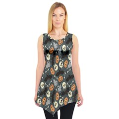 Colorful Halloween Pattern with Pumkins Bats and Skulls Sleeveless Tunic Top by CoolDesigns