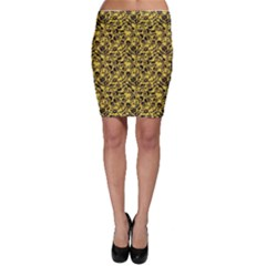 Yellow Skull Crossbones Pattern Bodycon Skirt by CoolDesigns