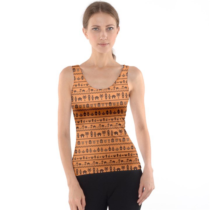 Orange African Tribal Pattern Ethnic Ornament with Different Tank Top