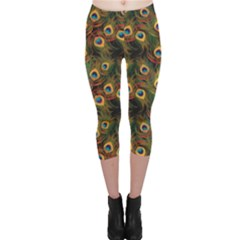 Green Pattern Peacock Feathers Capri Leggings by CoolDesigns