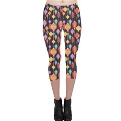 Colorful New Pattern Of Colorful Chinese Lanterns On A Dark Capri Leggings by CoolDesigns