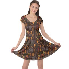 Brown African Ethnic Pattern With Stylized Cap Sleeve Dress by CoolDesigns