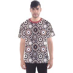 Brown Pattern Retro Circles Dots Pattern Men s Sport Mesh Tee by CoolDesigns