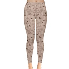 Brown Retro Pattern with Birds and Cage Women s Leggings by CoolDesigns